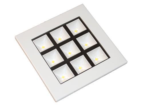 Plafón Cuadrado Blanco 9x1W 220v Luz Fría LED