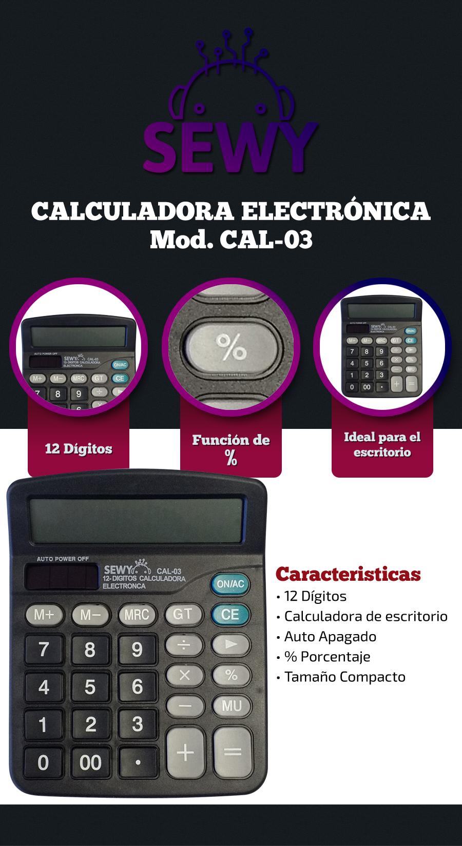 Calculadora Electrónica Sewy Compacta CAL-03