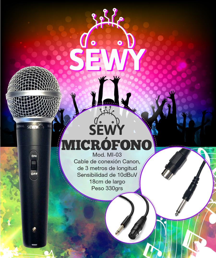 Micrófono Sewy Conector Canon y cable de 3m