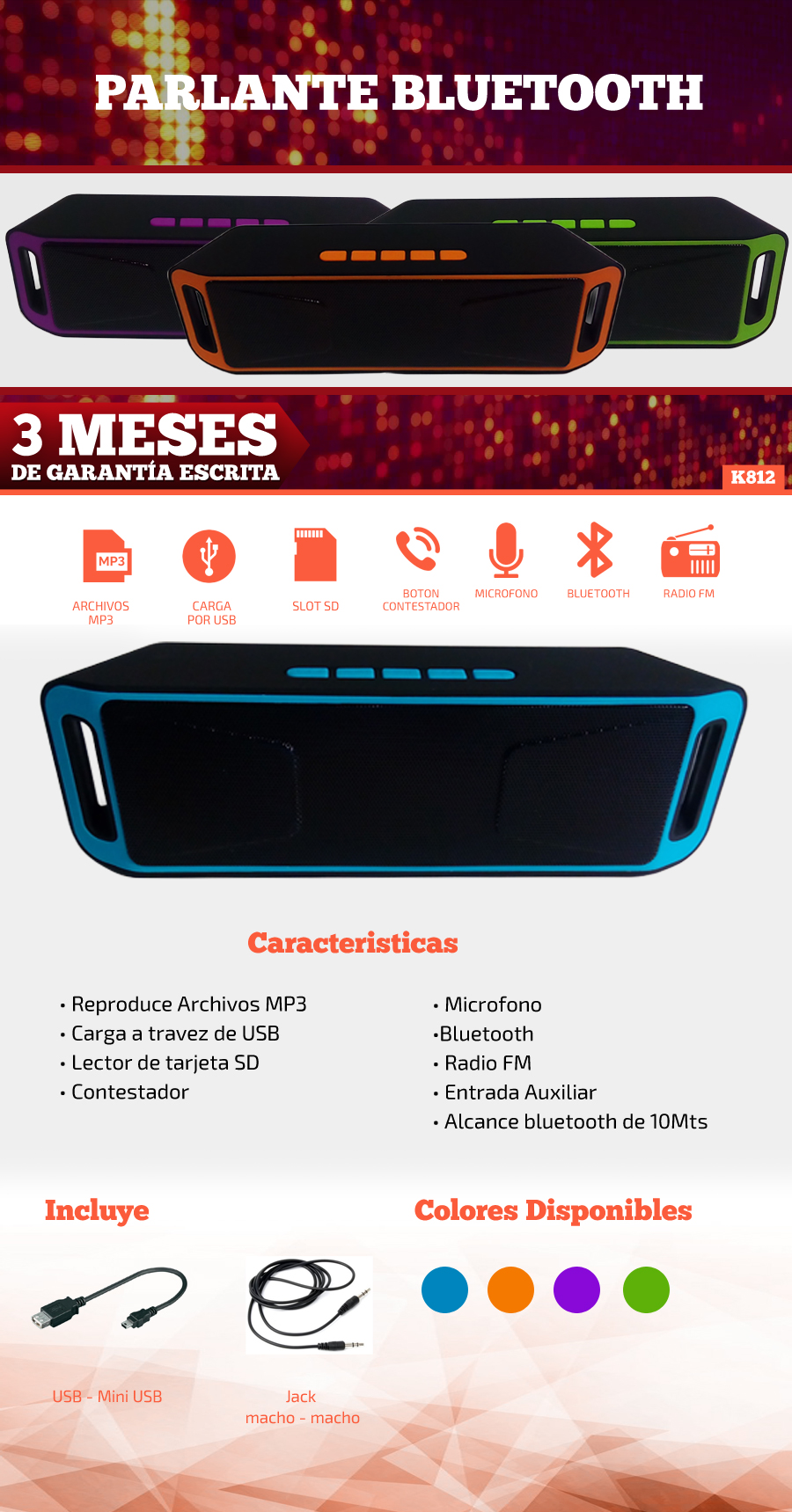 Parlante Bluetooth Funcion Radio  FM | K816 |