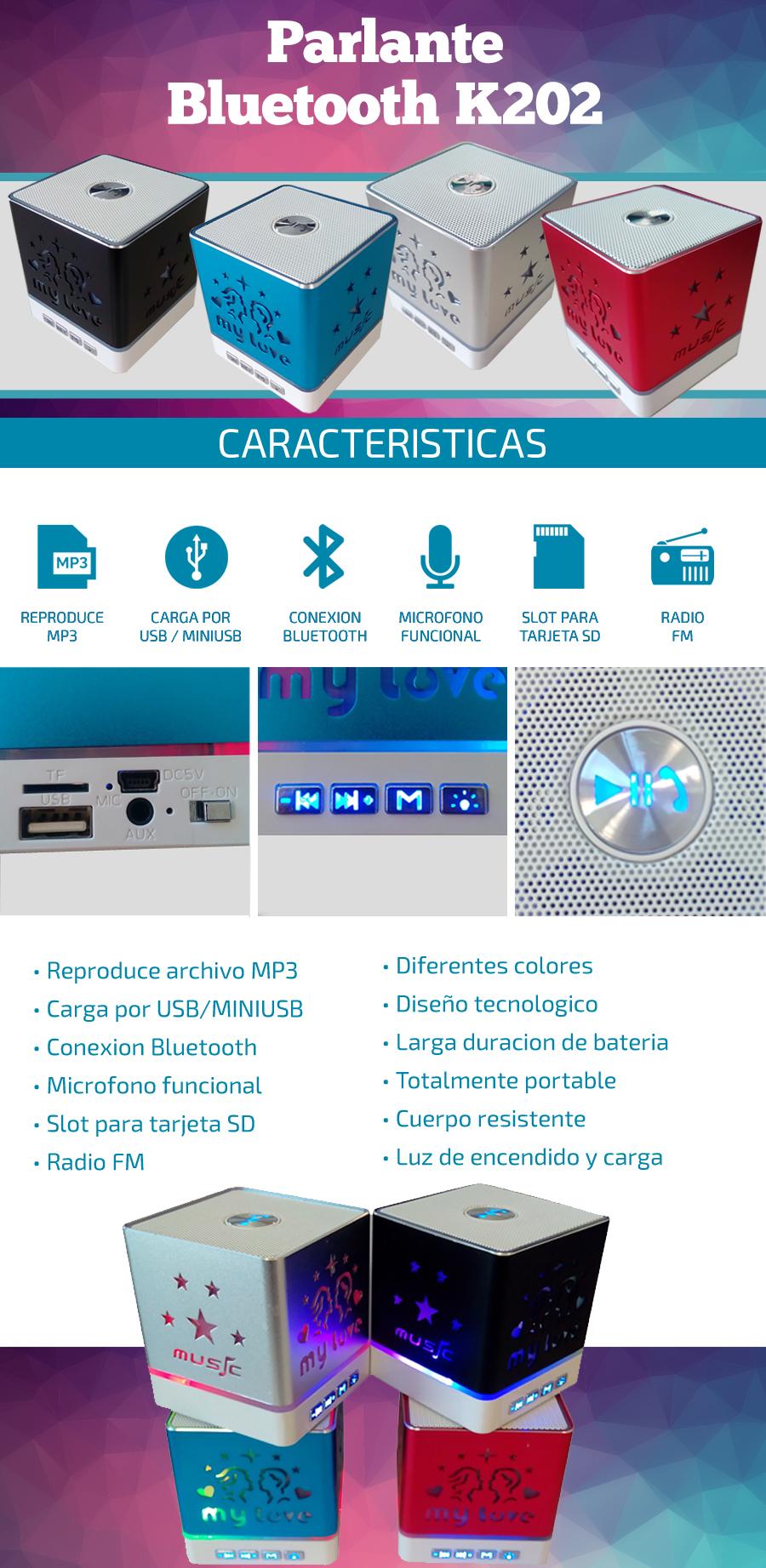 Parlante Bluetooth KH-202 |Radio FM /Slot SD|