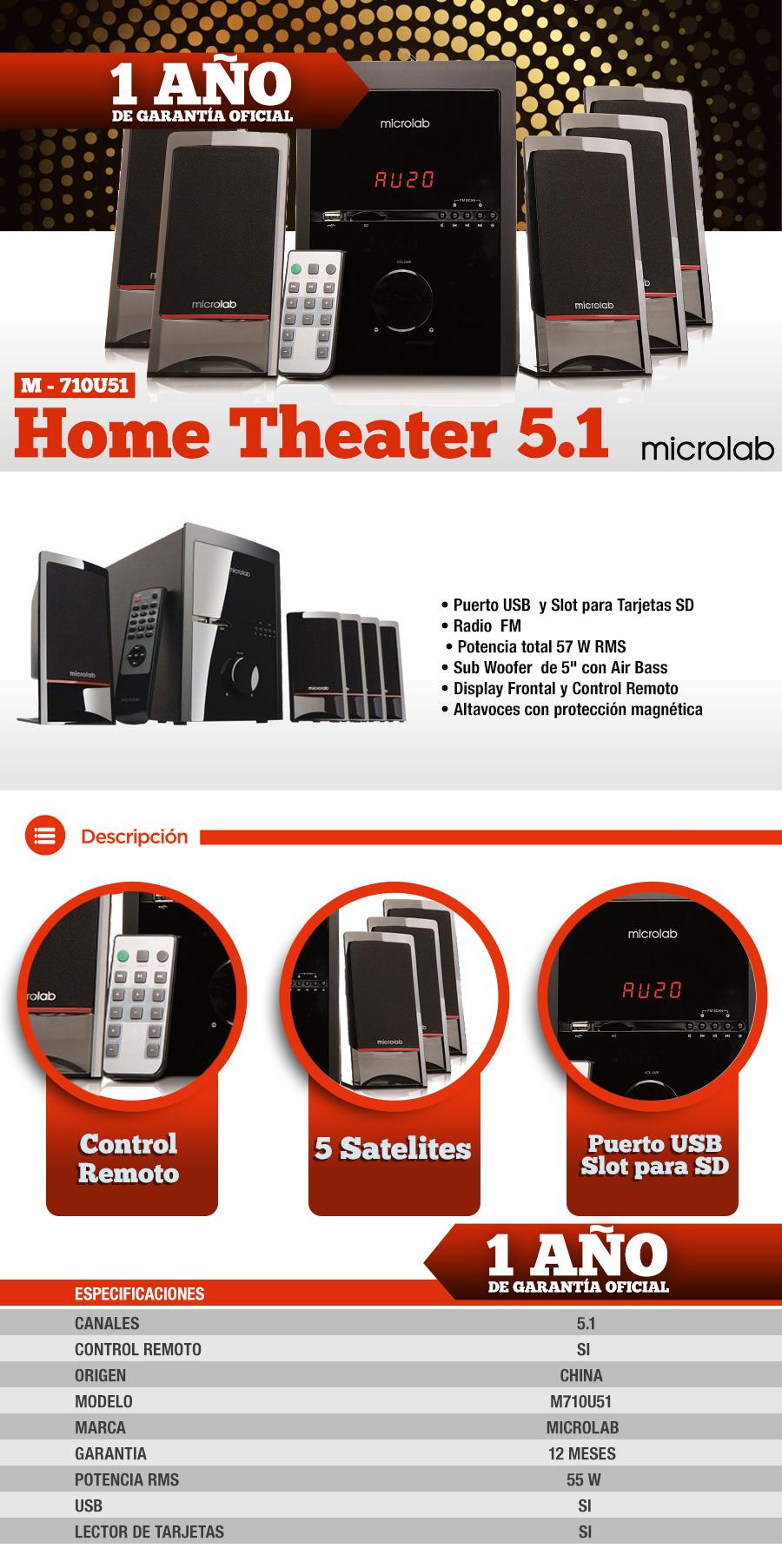 Home Theatre 5.1 MICROLAB M-710U51 USB 57W RM