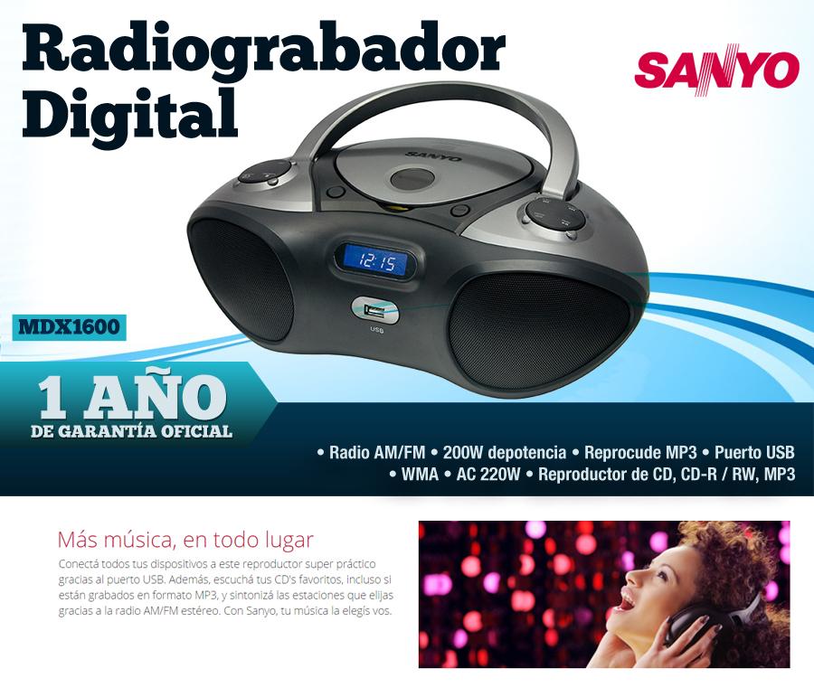 Radiograbador SANYO MDX 1600 CD Radio MP3 CDR
