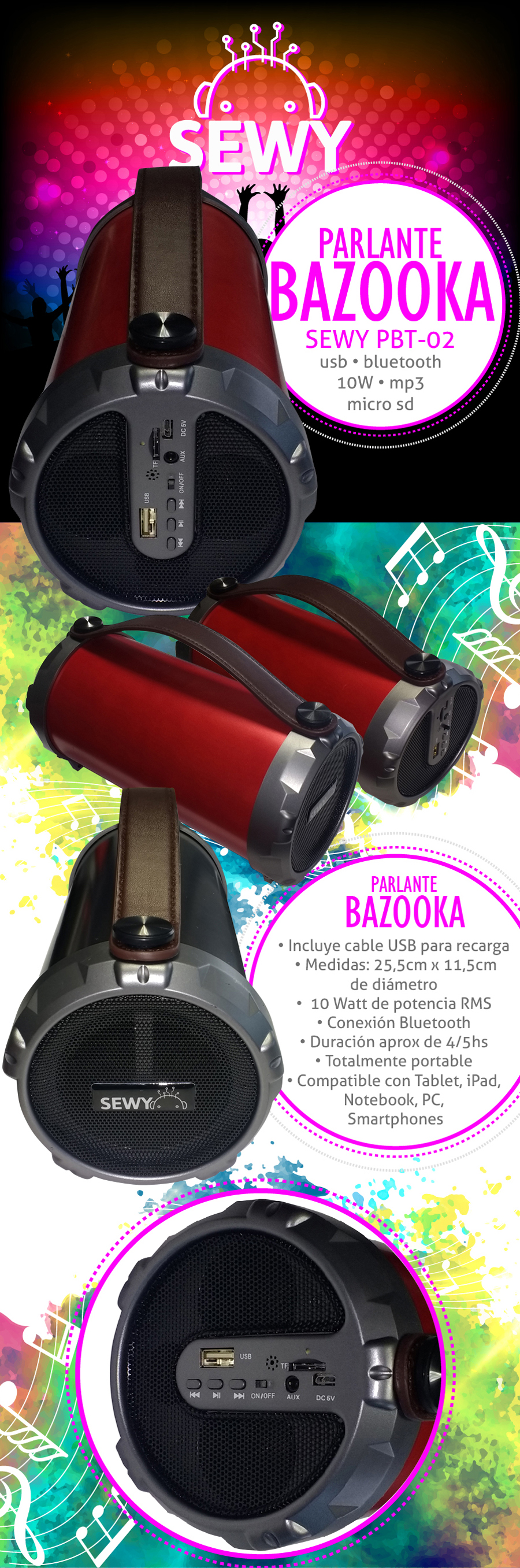 Parlante Bazooka Sewy PBT-02 12W USB MP3