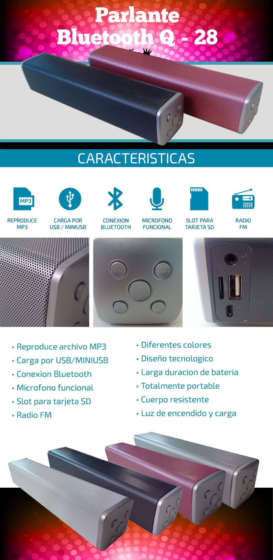 Parlante Bluetooth Q28 | Radio FM / Slot SD |