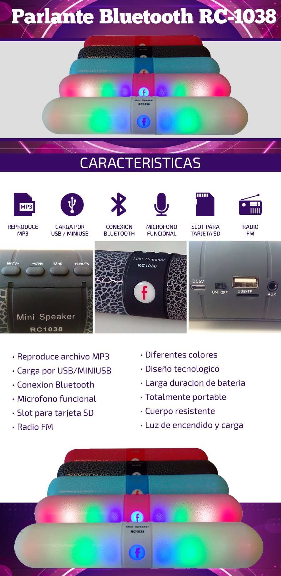 Parlante Bluetooth RC-1038|Radio FM / Slot SD