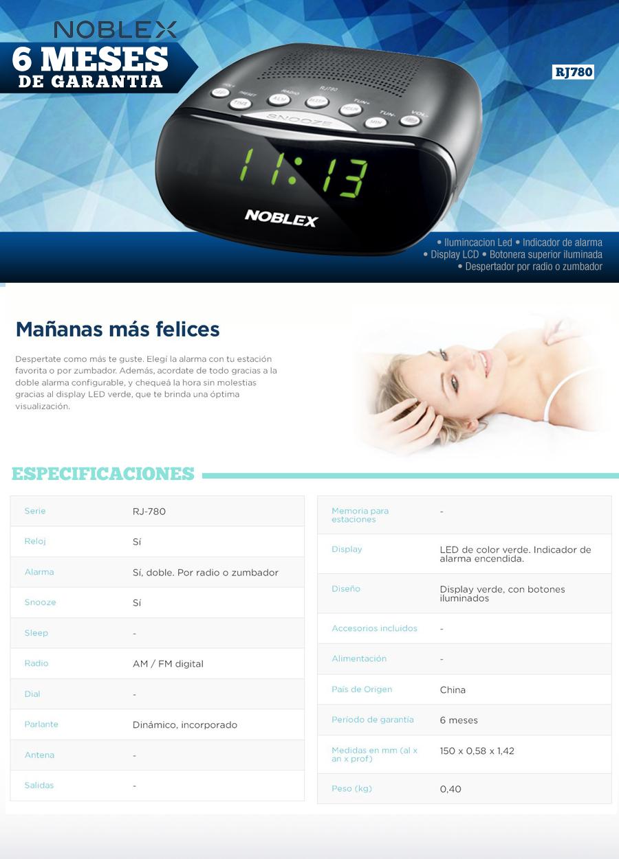 Radio Despertador  Digital    NOBLEX RJ 780  