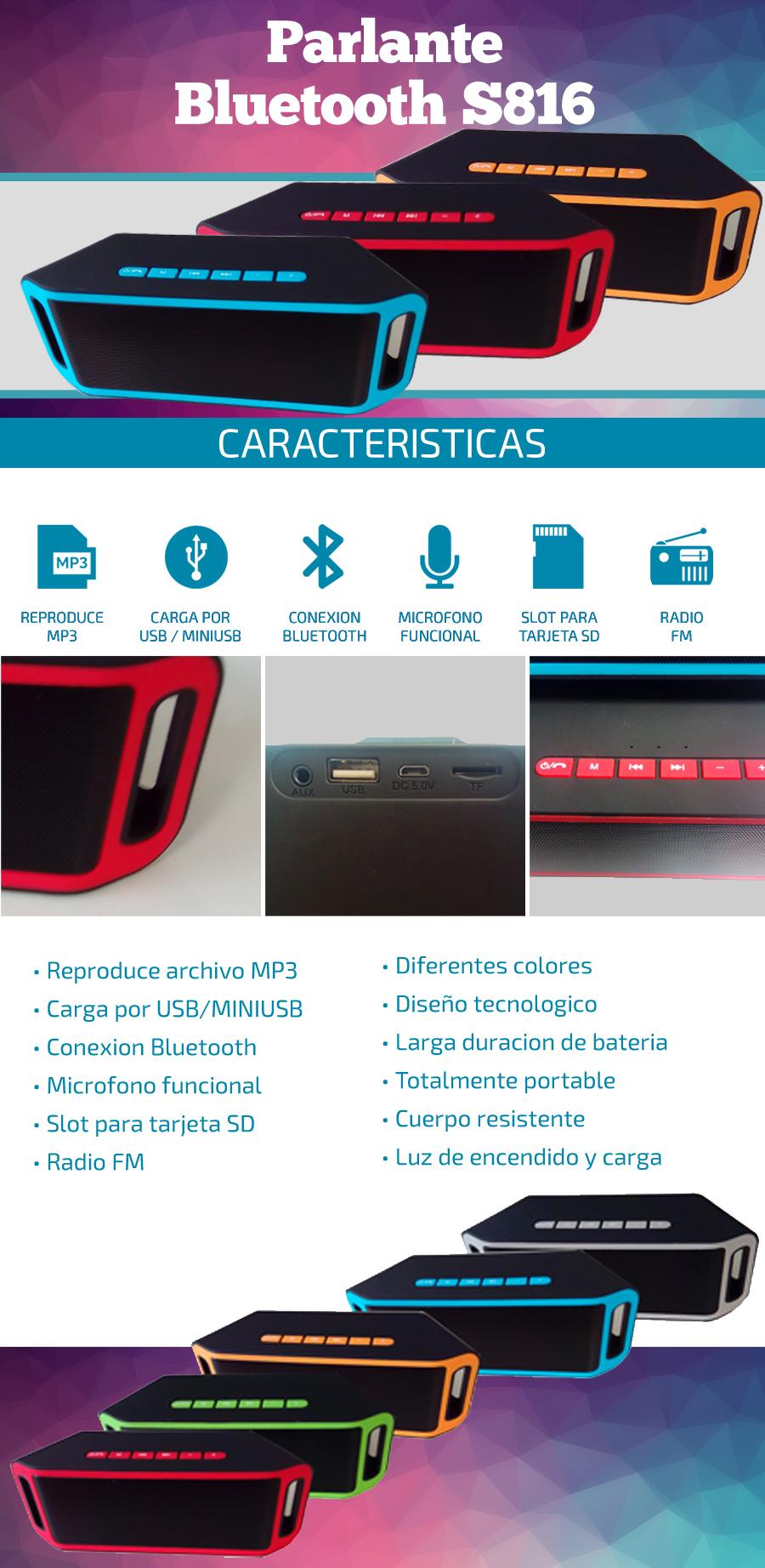 Parlante Bluetooth S816 | Radio FM / Slot SD|