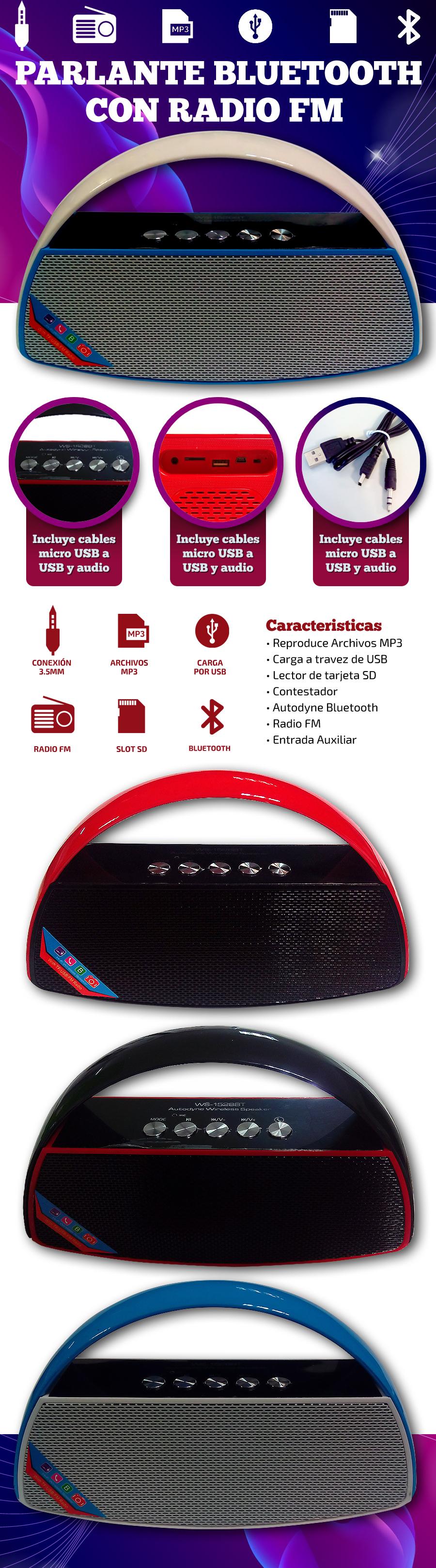Parlante Bluetooth WS-1528|Radio FM /Slot SD|
