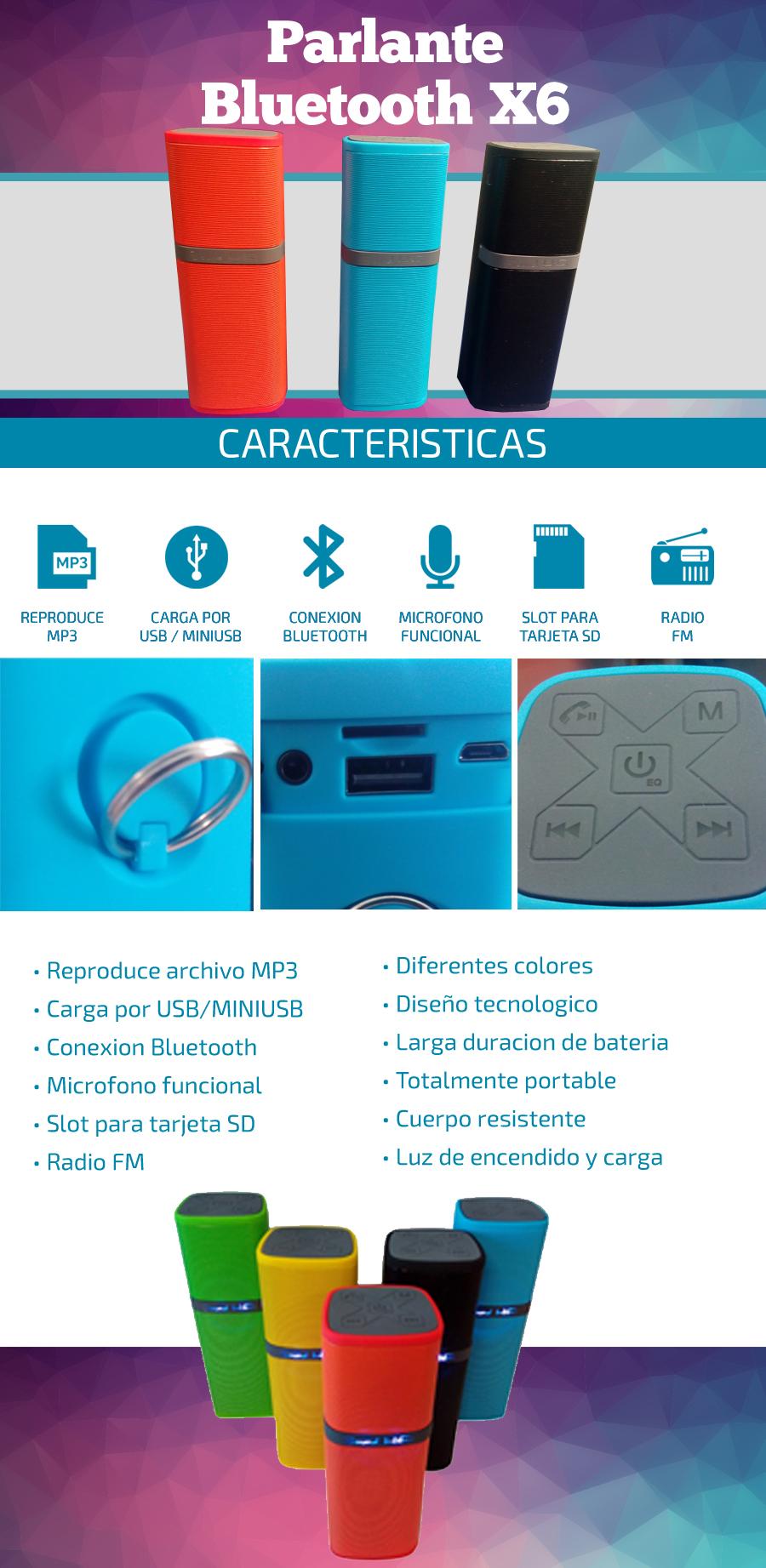 Parlante Bluetooth X-6   Radio FM / Slot SD  