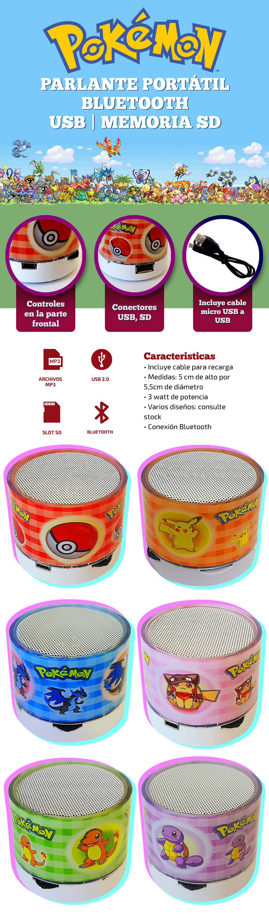 Parlante Portatil Bluetooth Pokemon | FM/SD |