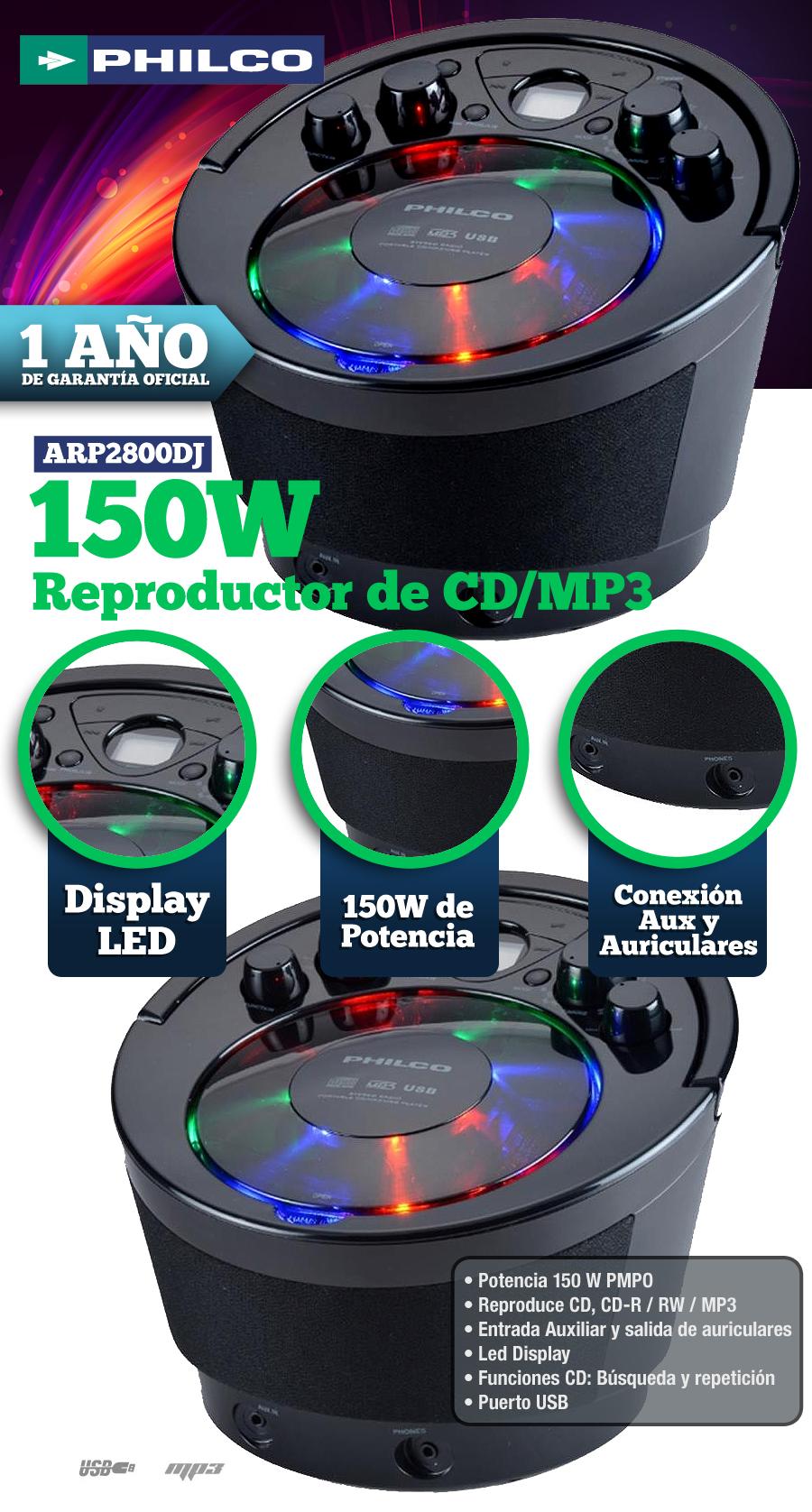 Reproductor de CD   MP3 Philco ARP2800DJ 150W