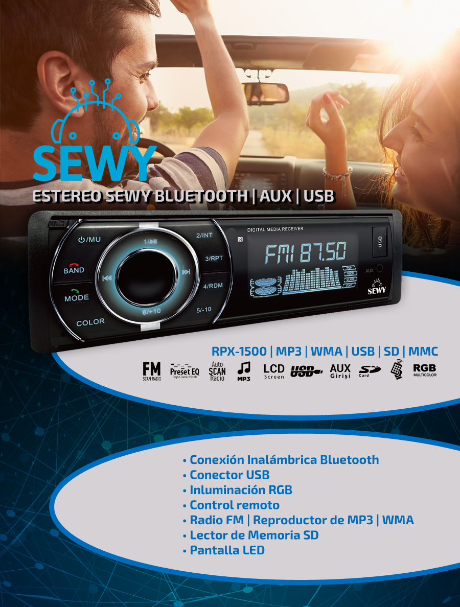 Estereo Sewy Bluetooth | Aux | Usb | Mp3
